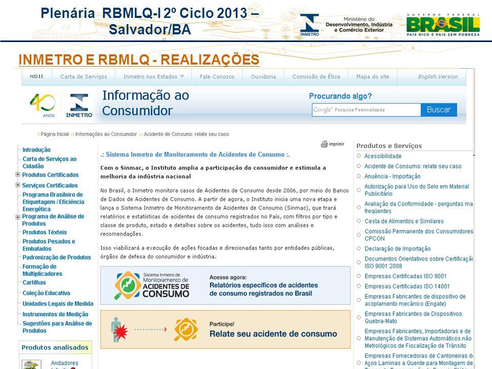 INMETRO E RBMLQ - REALIZAÇÕES