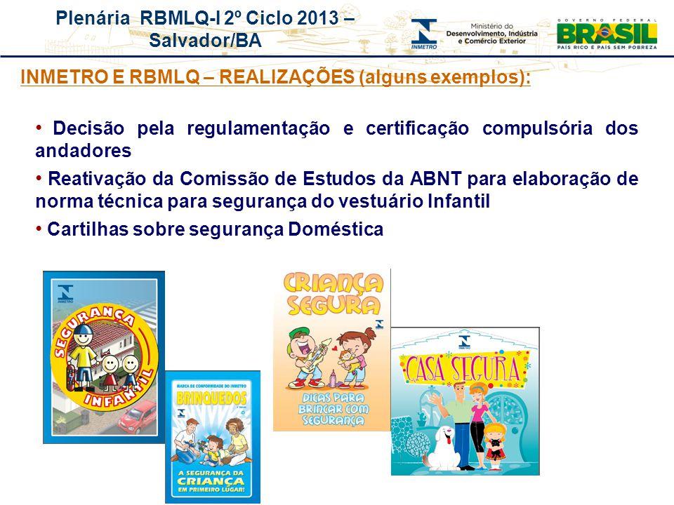 INMETRO E RBMLQ – REALIZAÇÕES (alguns exemplos):