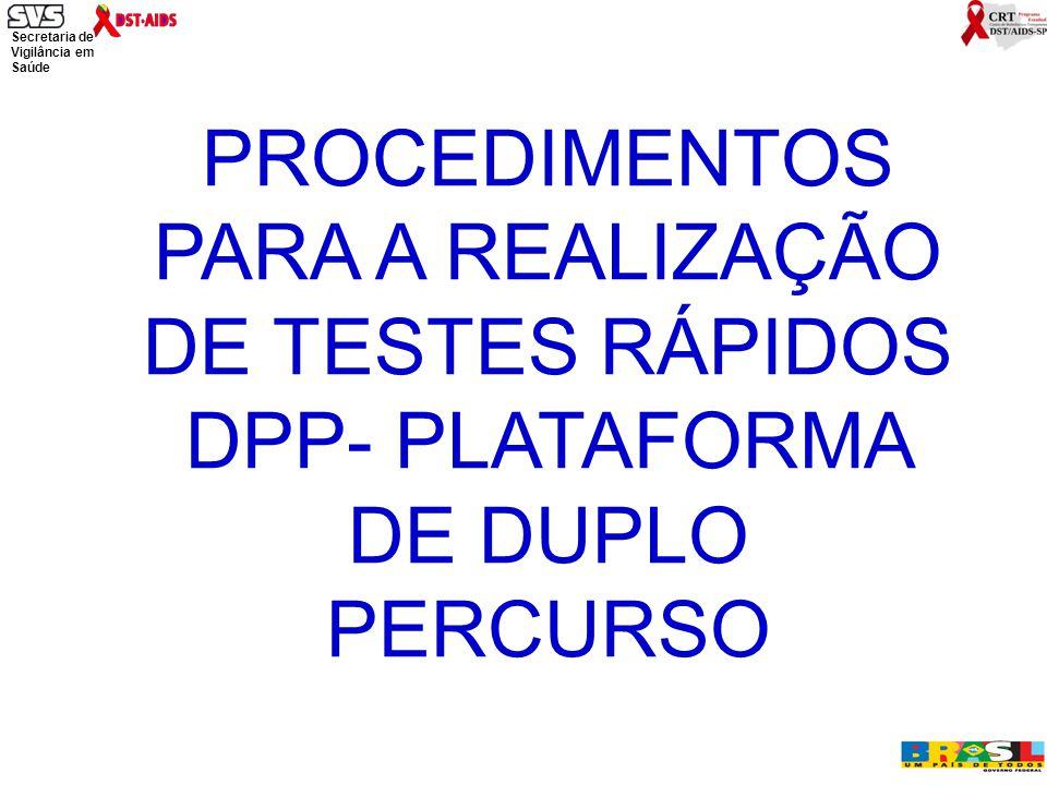 PROCEDIMENTOS PARA A REALIZAÇÃO DE TESTES RÁPIDOS DPP- PLATAFORMA DE DUPLO PERCURSO