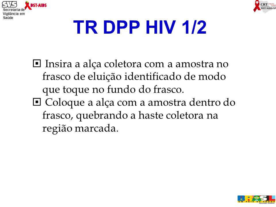 TR DPP HIV 1/2 Insira a alça coletora com a amostra no frasco de eluição identificado de modo que toque no fundo do frasco.