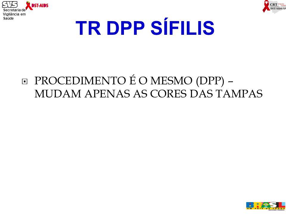 TR DPP SÍFILIS PROCEDIMENTO É O MESMO (DPP) – MUDAM APENAS AS CORES DAS TAMPAS