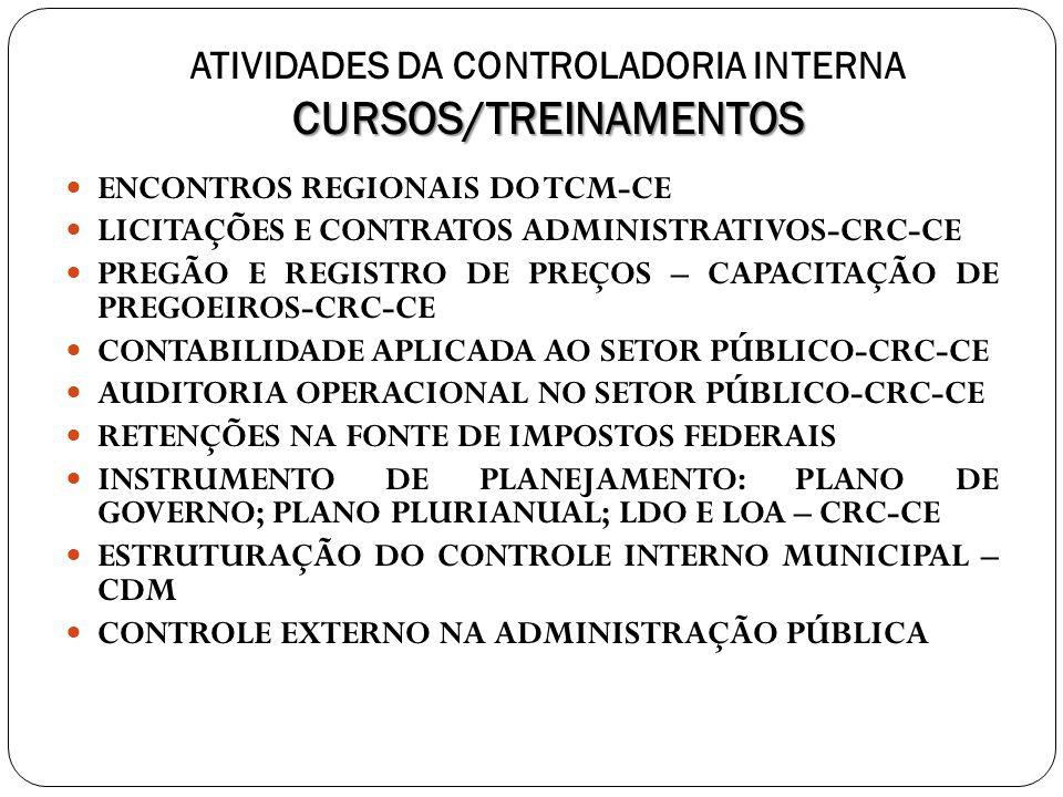 ATIVIDADES DA CONTROLADORIA INTERNA CURSOS/TREINAMENTOS