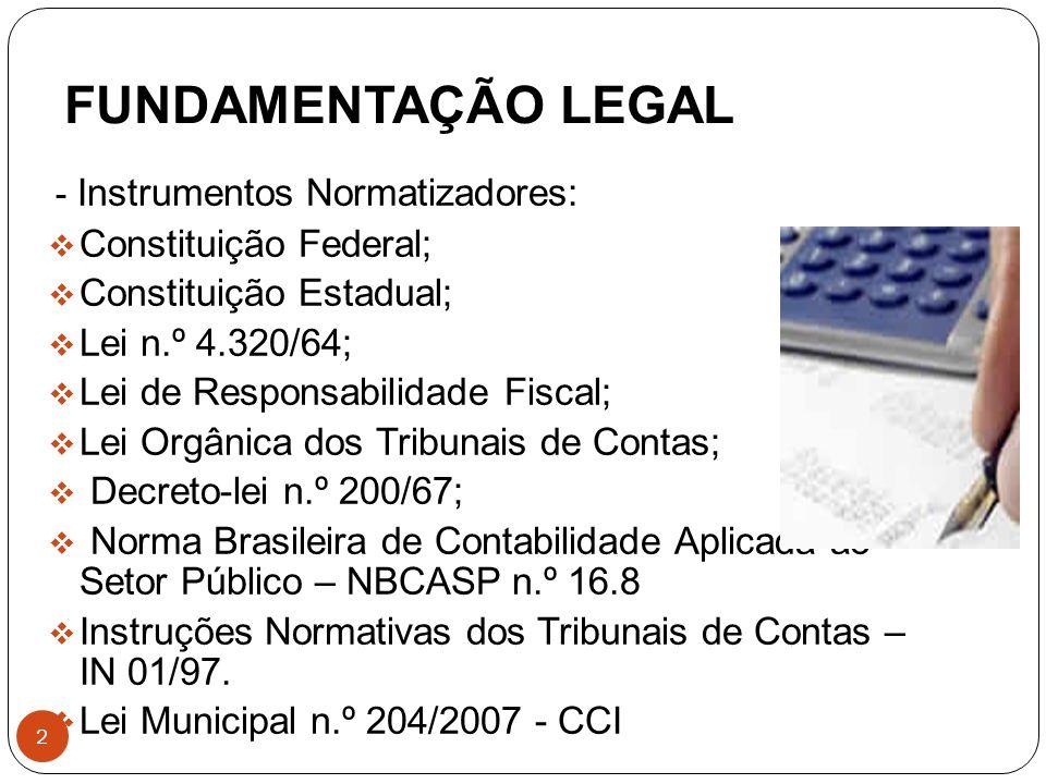 FUNDAMENTAÇÃO LEGAL Constituição Federal; Constituição Estadual;