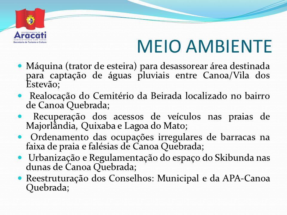 MEIO AMBIENTE Máquina (trator de esteira) para desassorear área destinada para captação de águas pluviais entre Canoa/Vila dos Estevão;