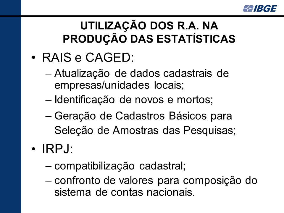 UTILIZAÇÃO DOS R.A. NA PRODUÇÃO DAS ESTATÍSTICAS