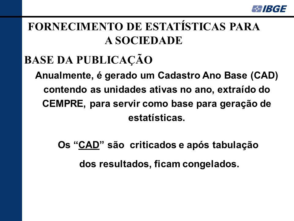 FORNECIMENTO DE ESTATÍSTICAS PARA A SOCIEDADE BASE DA PUBLICAÇÃO