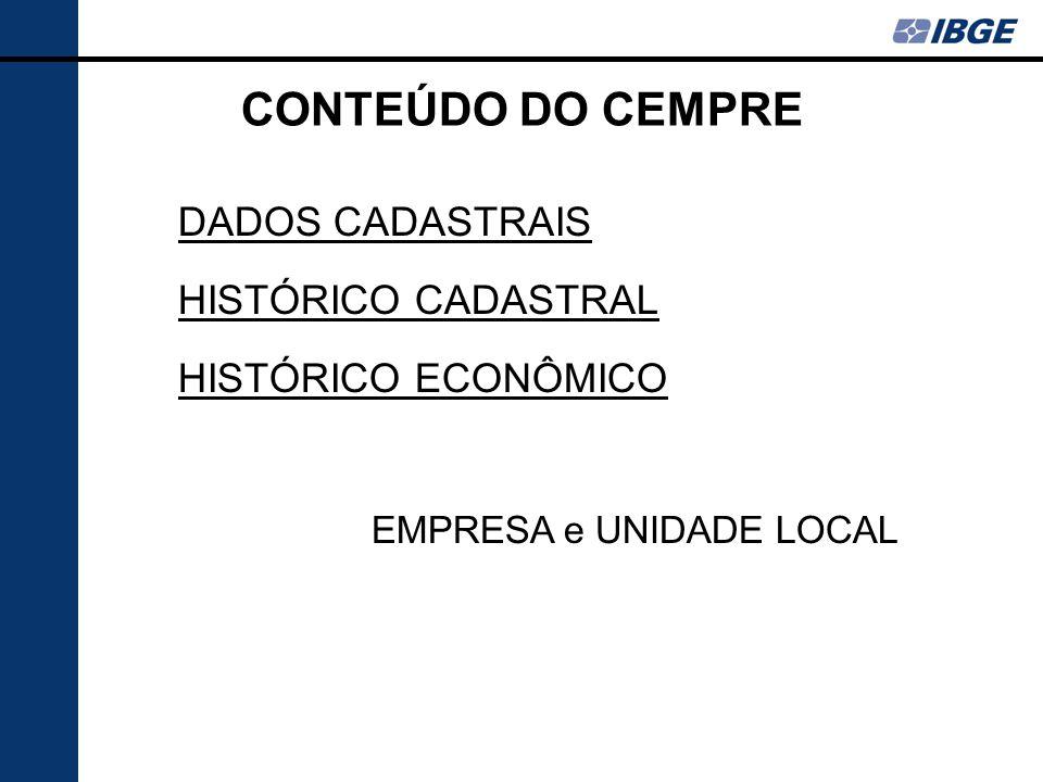 CONTEÚDO DO CEMPRE DADOS CADASTRAIS HISTÓRICO CADASTRAL