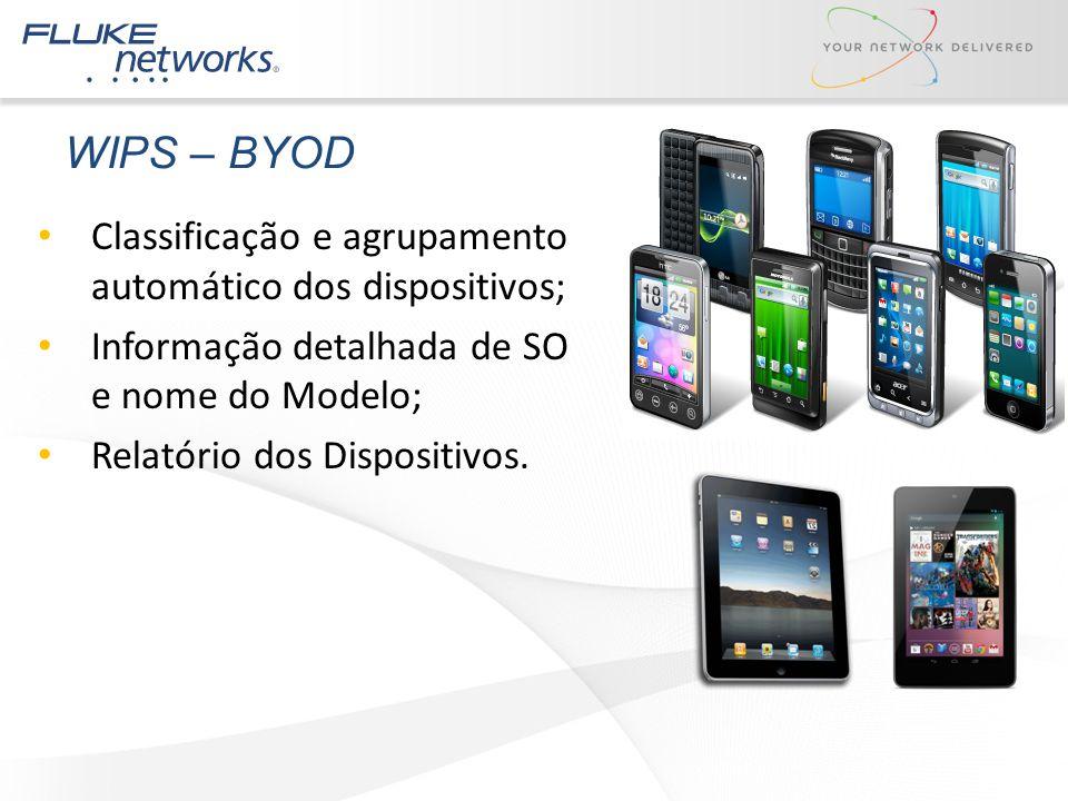 WIPS – BYOD Classificação e agrupamento automático dos dispositivos;