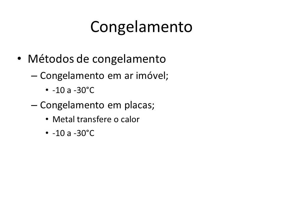 Congelamento Métodos de congelamento Congelamento em ar imóvel;
