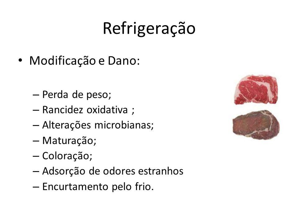 Refrigeração Modificação e Dano: Perda de peso; Rancidez oxidativa ;