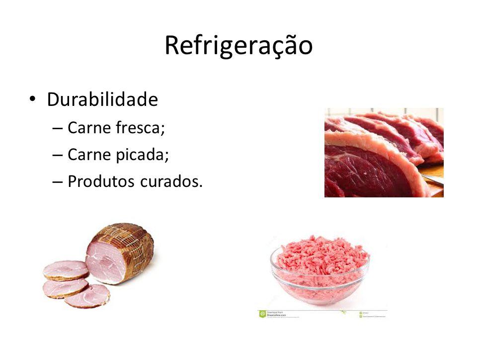 Refrigeração Durabilidade Carne fresca; Carne picada;