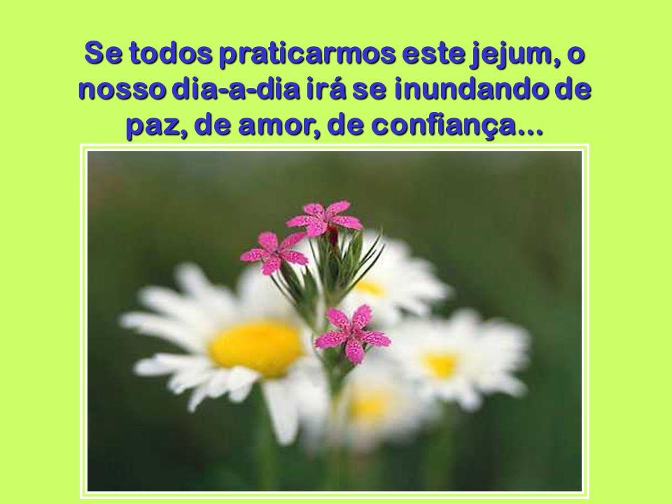 Se todos praticarmos este jejum, o nosso dia-a-dia irá se inundando de paz, de amor, de confiança...