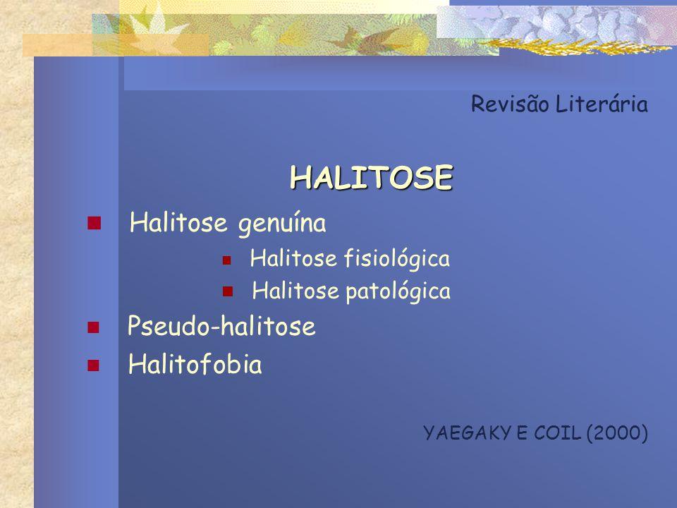 HALITOSE Halitose genuína Pseudo-halitose Halitofobia