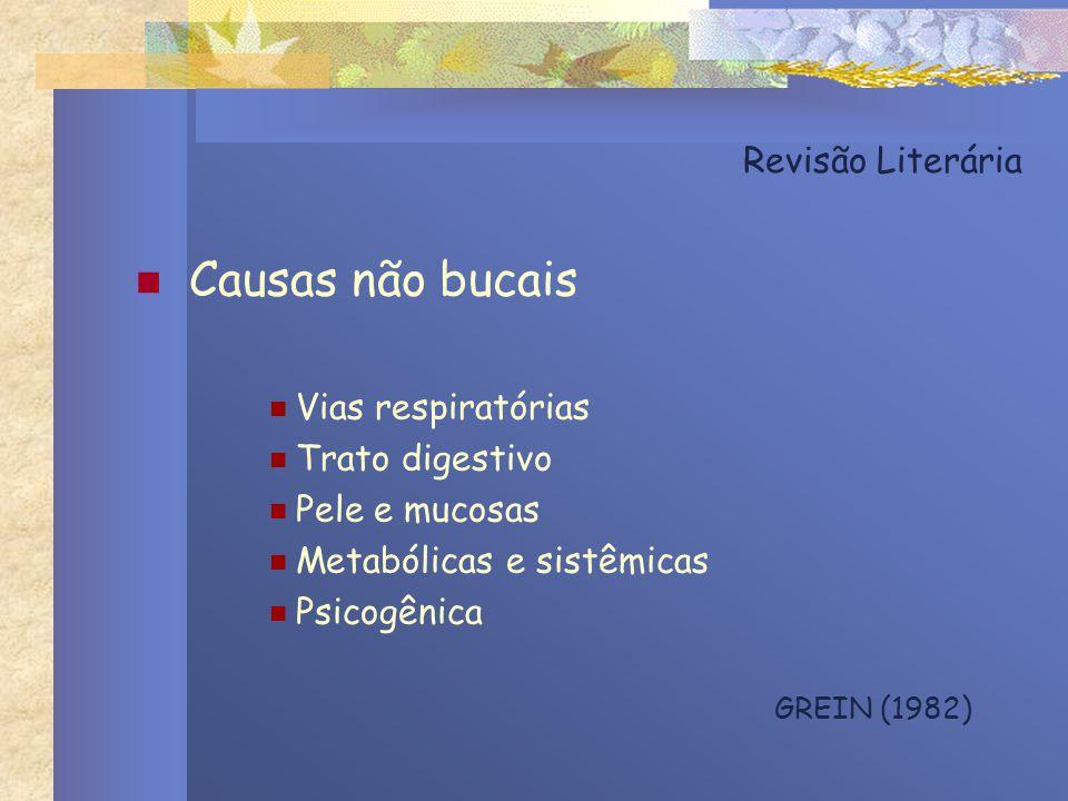 Causas não bucais Revisão Literária Vias respiratórias Trato digestivo