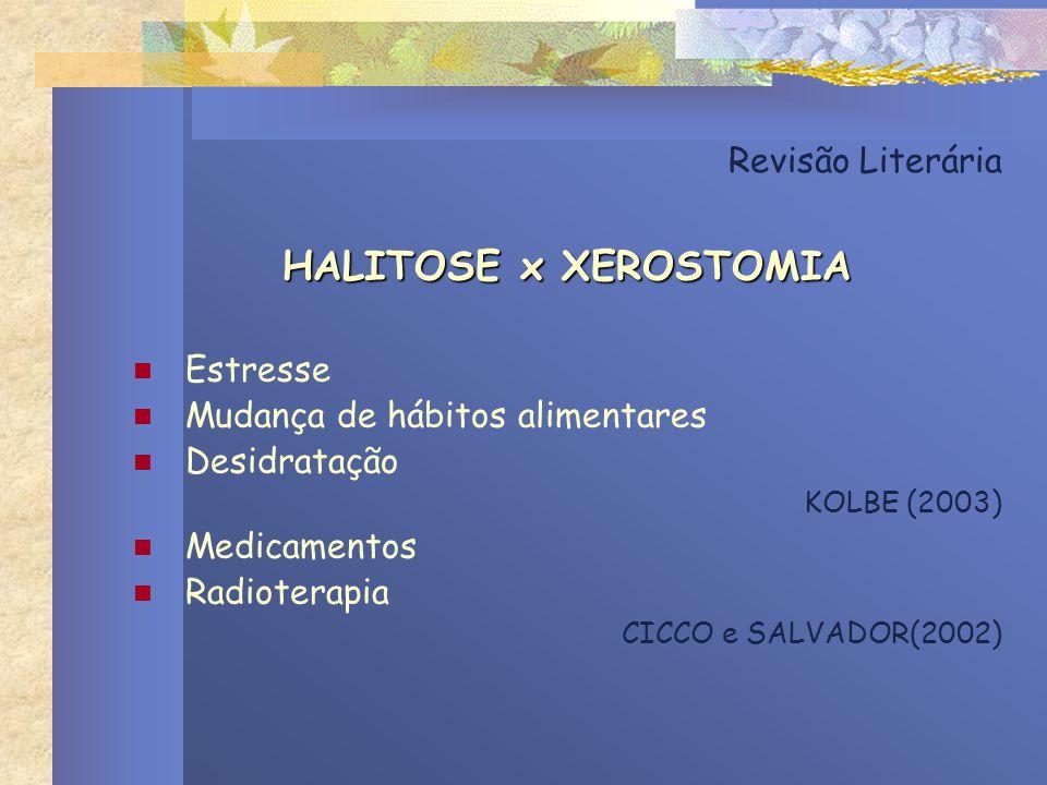 HALITOSE x XEROSTOMIA Revisão Literária Estresse