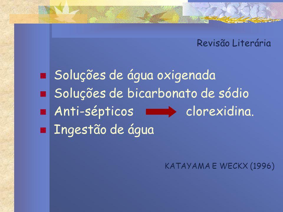 Soluções de água oxigenada Soluções de bicarbonato de sódio