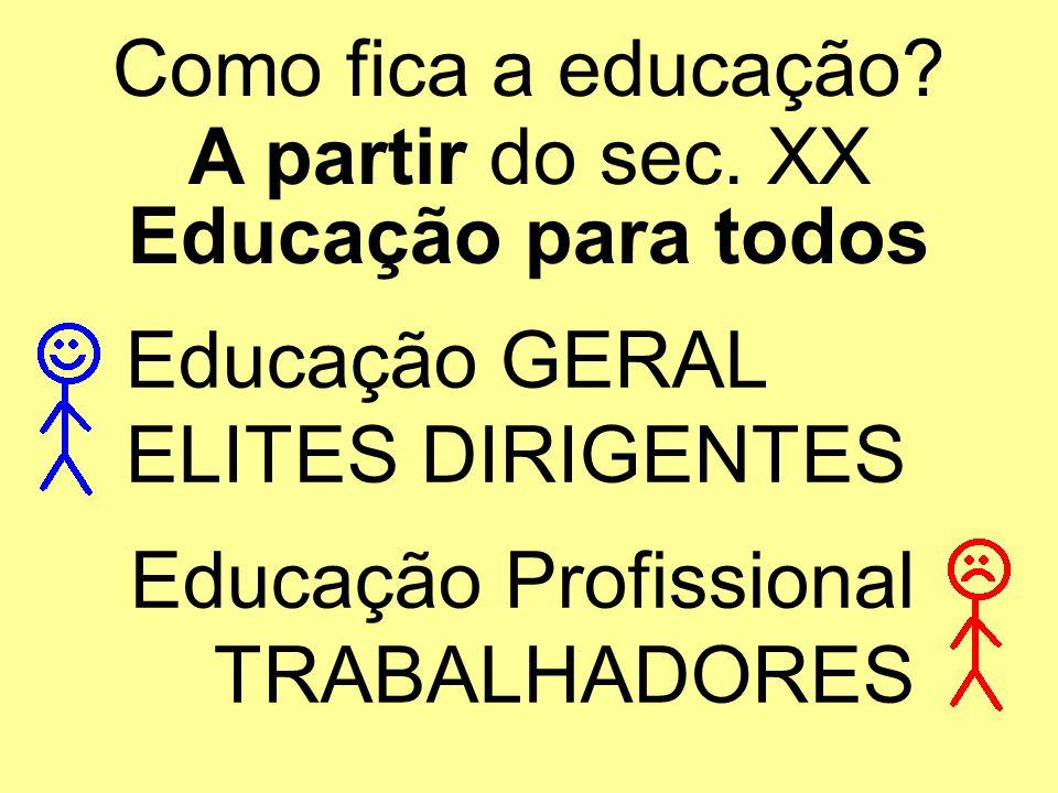 Como fica a educação A partir do sec. XX. Educação para todos. Educação GERAL. ELITES DIRIGENTES.