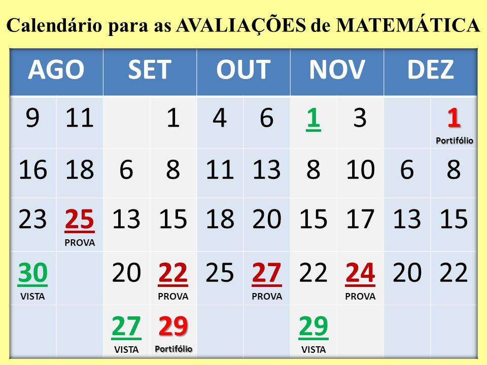 Calendário para as AVALIAÇÕES de MATEMÁTICA