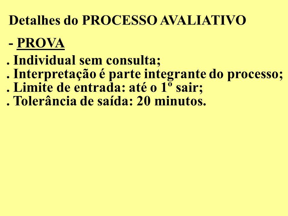 Detalhes do PROCESSO AVALIATIVO