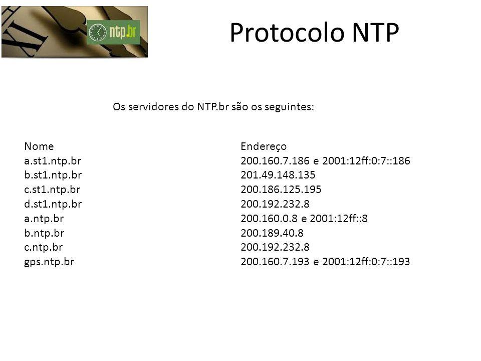 Protocolo NTP Os servidores do NTP.br são os seguintes: Nome Endereço