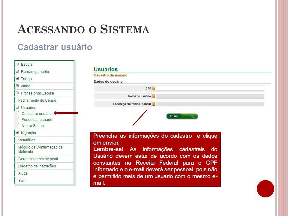Acessando o Sistema Cadastrar usuário