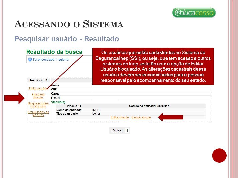 Acessando o Sistema Pesquisar usuário - Resultado