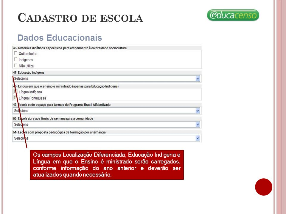 Cadastro de escola Dados Educacionais