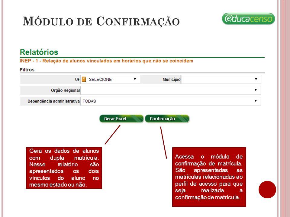 Módulo de Confirmação Gera os dados de alunos com dupla matrícula. Nesse relatório são apresentados os dois vínculos do aluno no mesmo estado ou não.