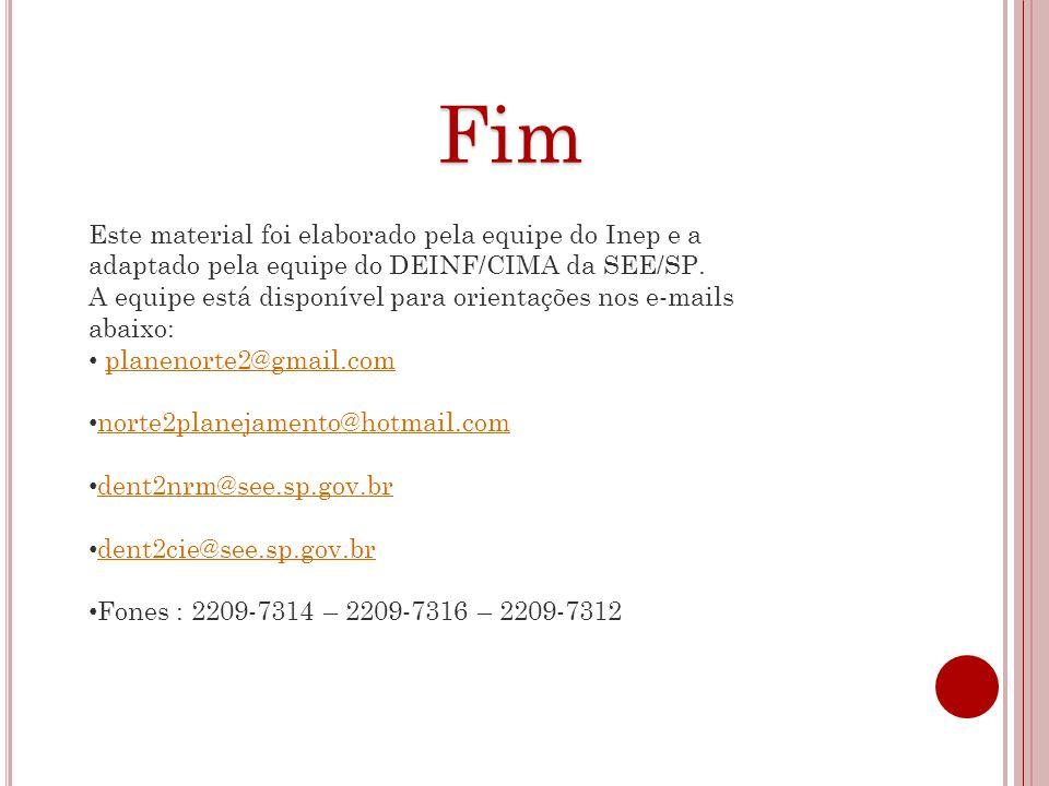 Fim Este material foi elaborado pela equipe do Inep e a adaptado pela equipe do DEINF/CIMA da SEE/SP.