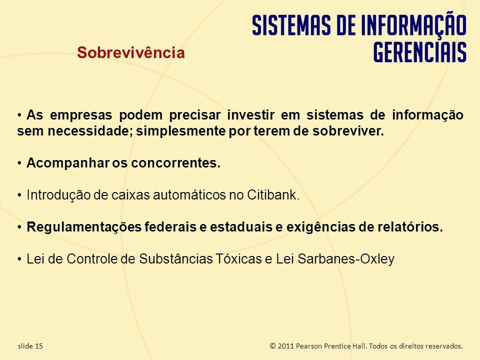 Sobrevivência As empresas podem precisar investir em sistemas de informação sem necessidade; simplesmente por terem de sobreviver.