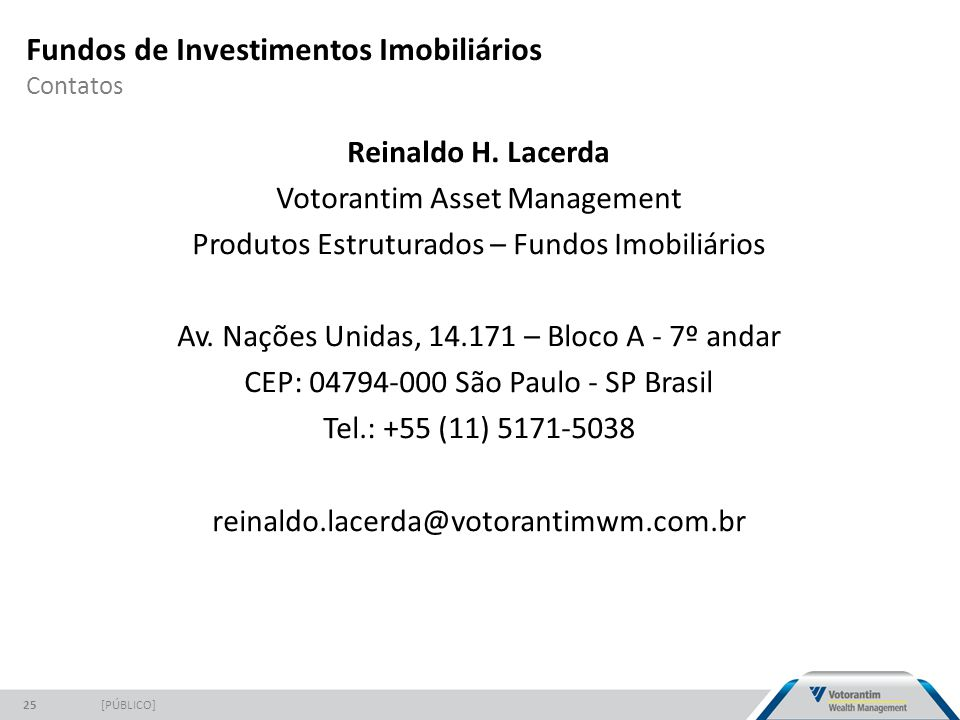Fundos de Investimentos Imobiliários Contatos