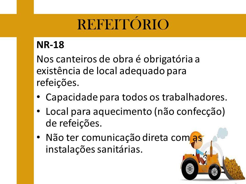 REFEITÓRIO NR-18. Nos canteiros de obra é obrigatória a existência de local adequado para refeições.