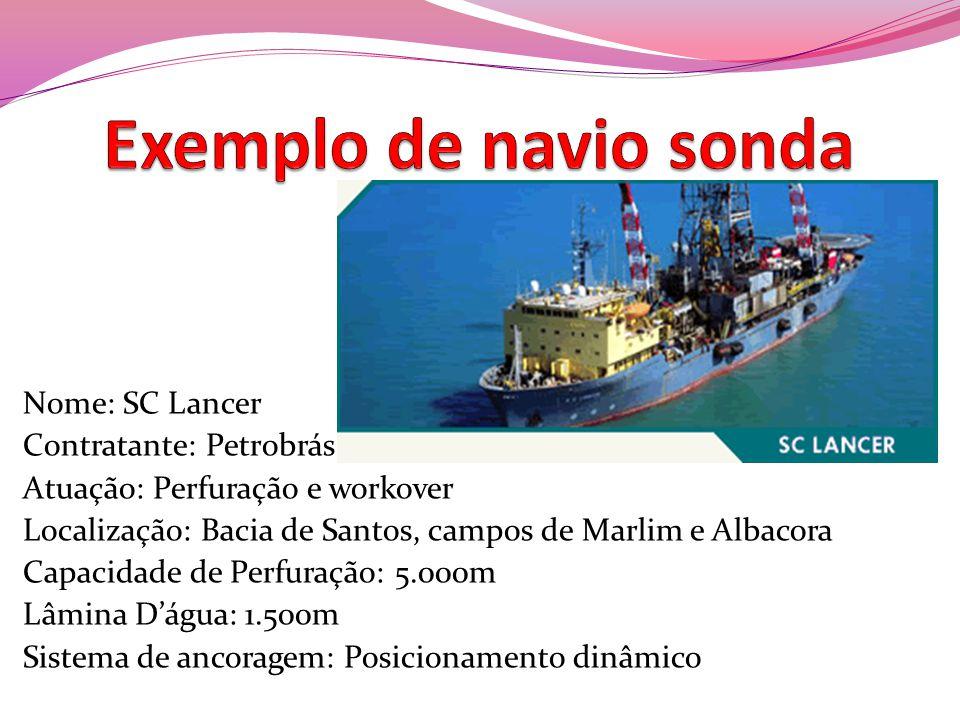 Exemplo de navio sonda Nome: SC Lancer Contratante: Petrobrás