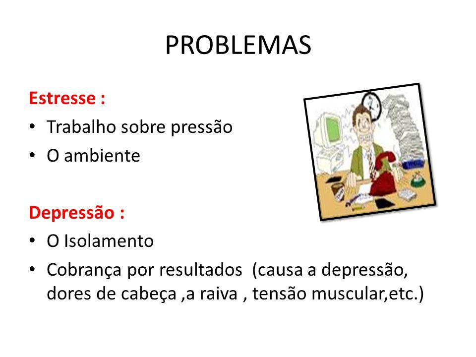 PROBLEMAS Estresse : Trabalho sobre pressão O ambiente Depressão :