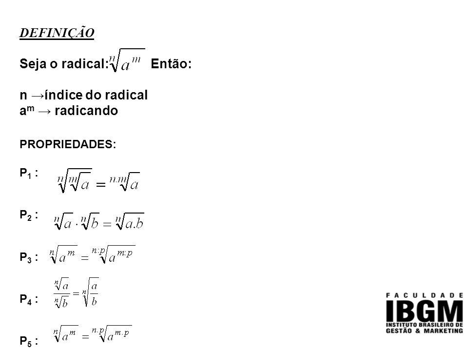 DEFINIÇÃO Seja o radical: Então: n →índice do radical am → radicando