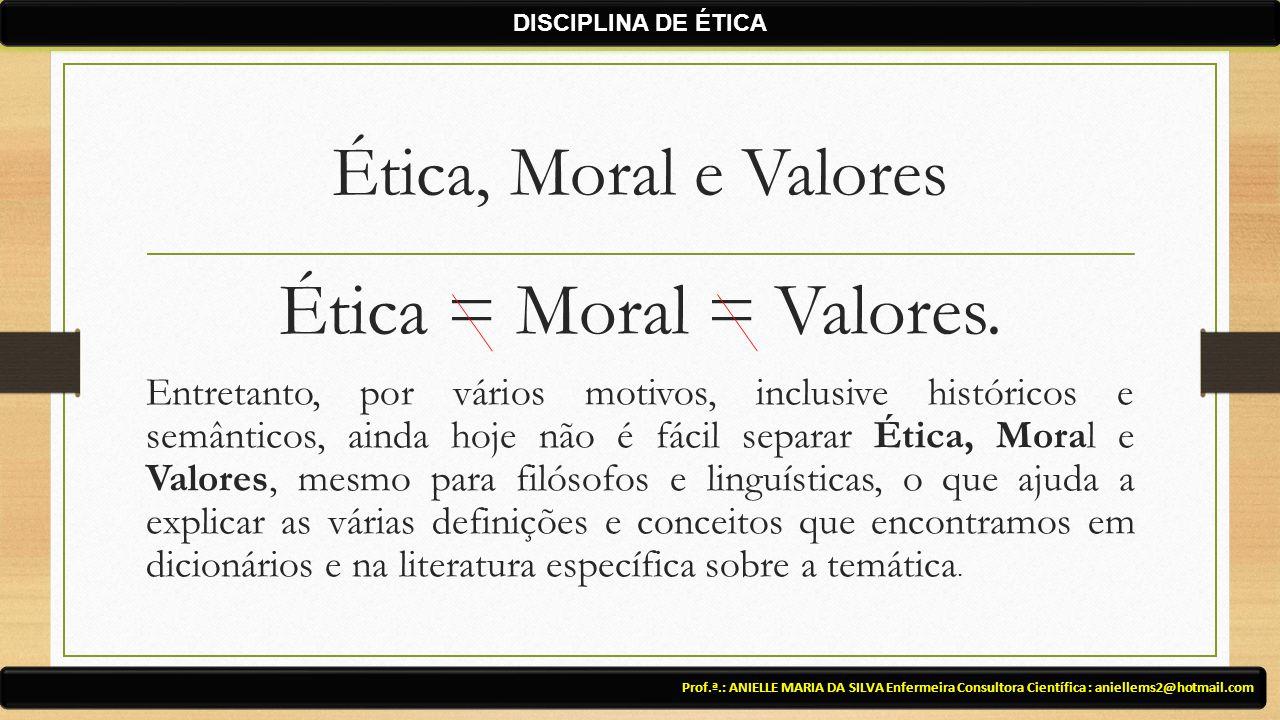 Ética = Moral = Valores. Ética, Moral e Valores