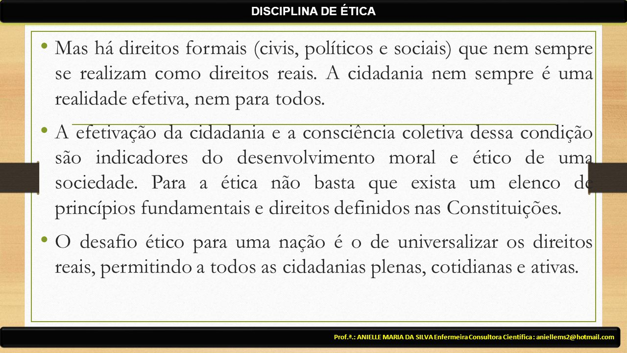 DISCIPLINA DE ÉTICA