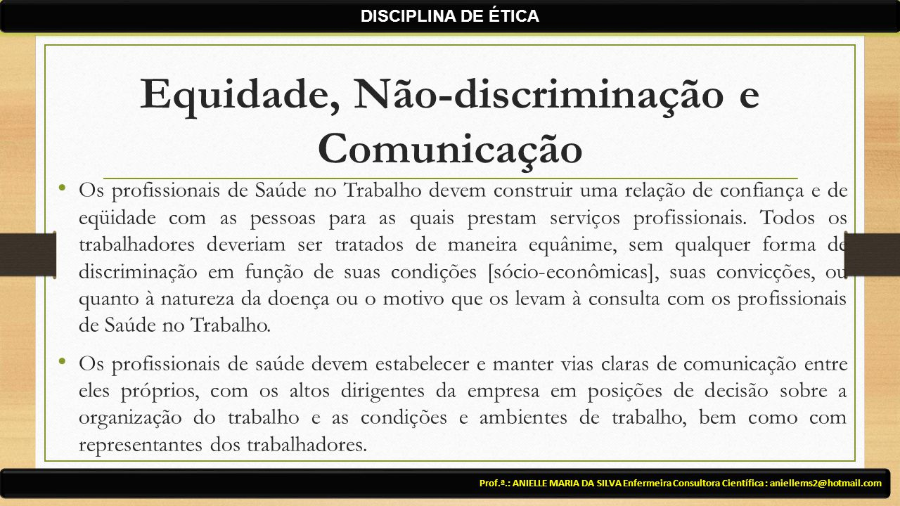 Equidade, Não-discriminação e Comunicação