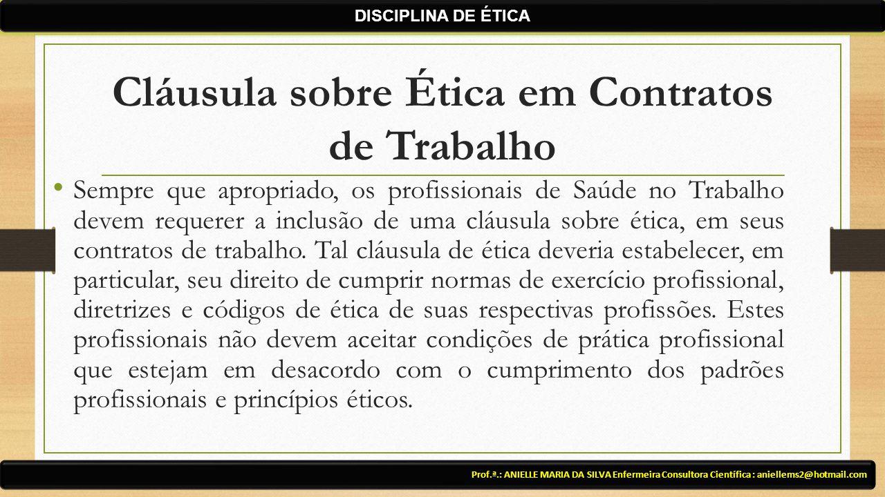 Cláusula sobre Ética em Contratos de Trabalho