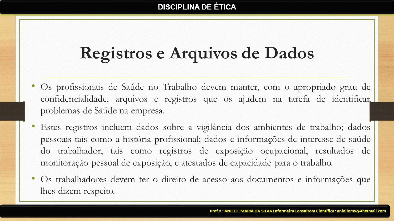 Registros e Arquivos de Dados