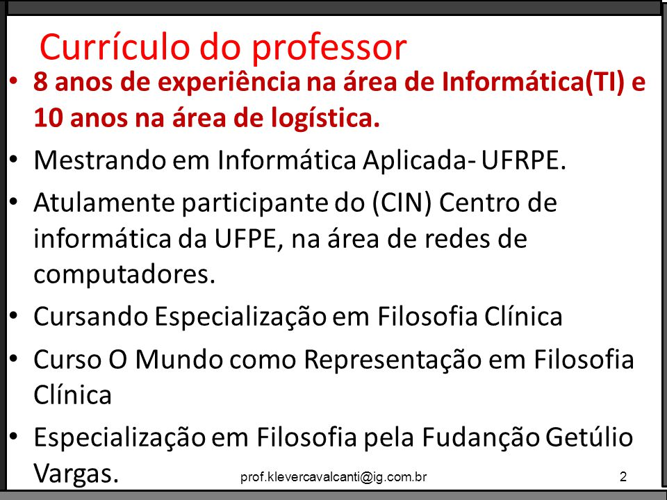 Currículo do professor