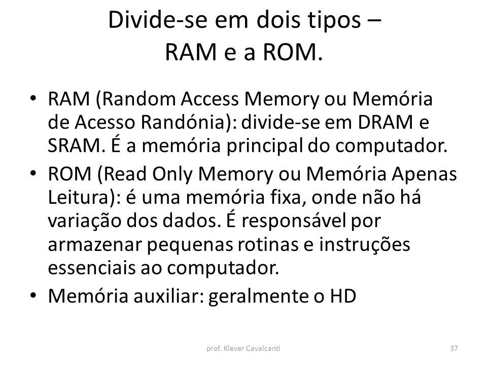 Divide-se em dois tipos – RAM e a ROM.