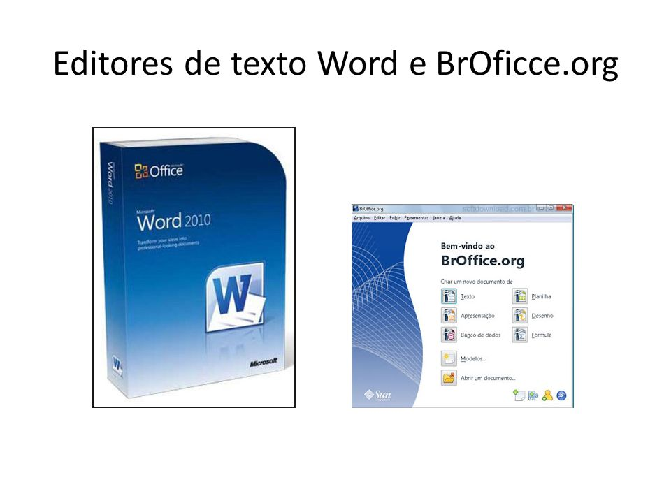 Editores de texto Word e BrOficce.org