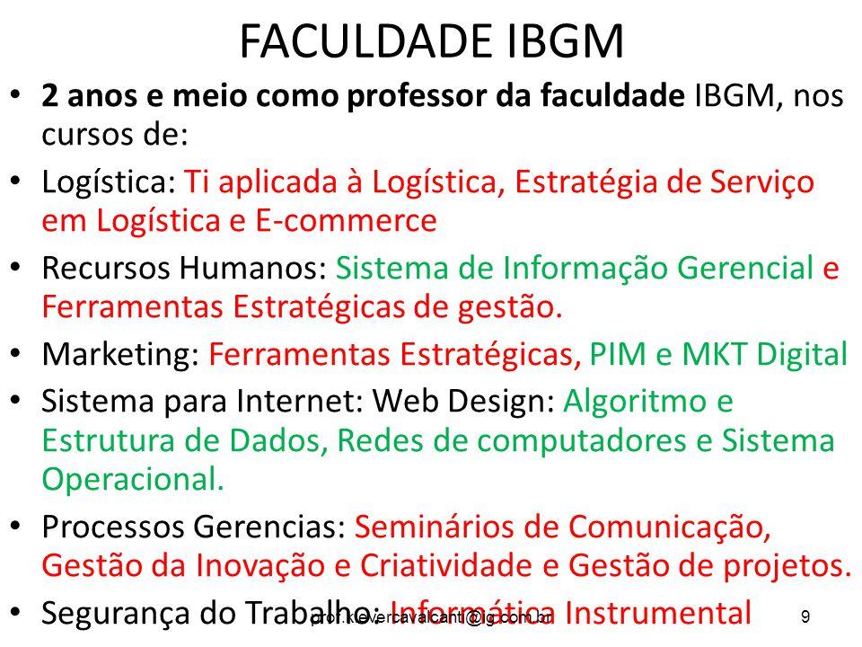 FACULDADE IBGM 2 anos e meio como professor da faculdade IBGM, nos cursos de: