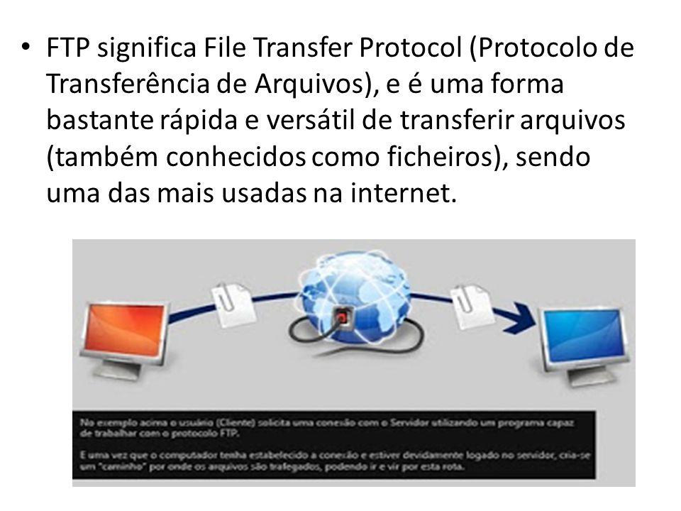 FTP significa File Transfer Protocol (Protocolo de Transferência de Arquivos), e é uma forma bastante rápida e versátil de transferir arquivos (também conhecidos como ficheiros), sendo uma das mais usadas na internet.