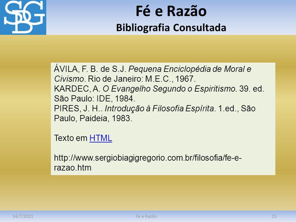 Fé e Razão Bibliografia Consultada