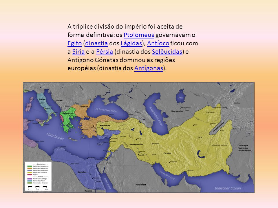 A tríplice divisão do império foi aceita de forma definitiva: os Ptolomeus governavam o Egito (dinastia dos Lágidas), Antíoco ficou com a Síria e a Pérsia (dinastia dos Selêucidas) e Antígono Gónatas dominou as regiões européias (dinastia dos Antígonas).