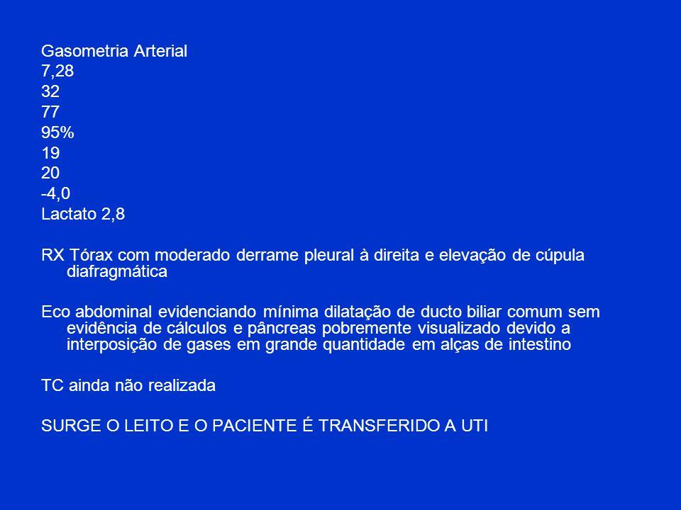 Gasometria Arterial 7,28. 32. 77. 95% 19. 20. -4,0. Lactato 2,8.