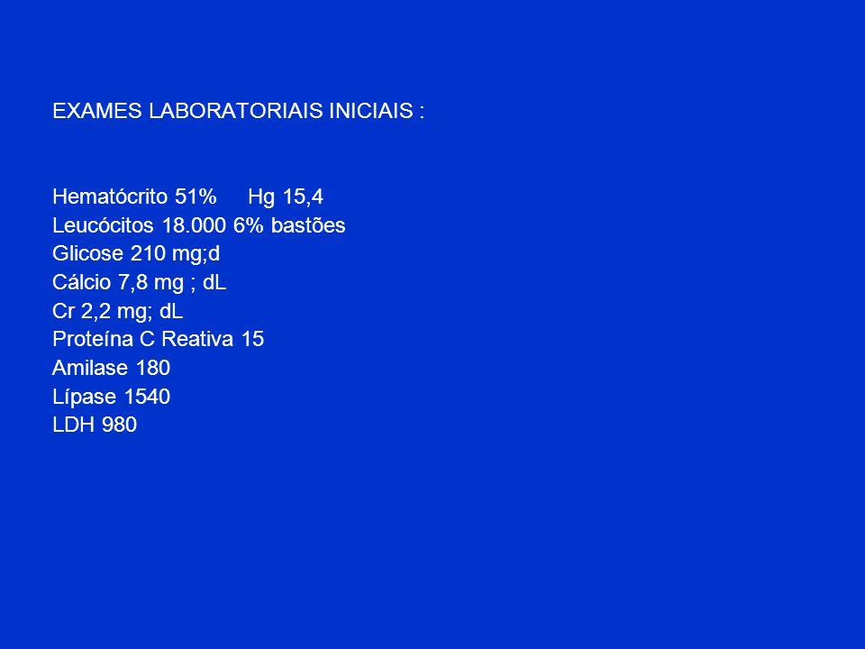 EXAMES LABORATORIAIS INICIAIS :