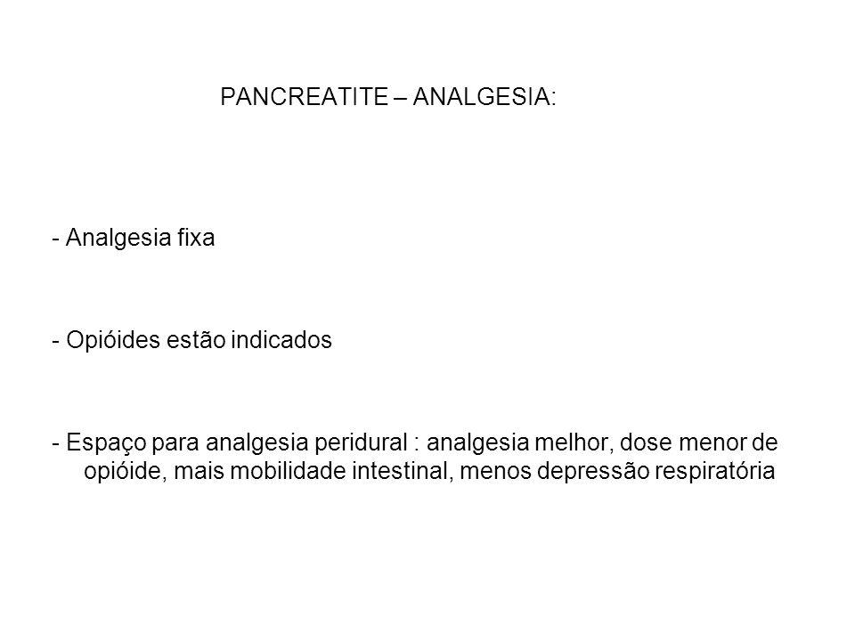 PANCREATITE – ANALGESIA: